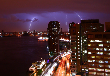 Lightning Strike over East River, New York City