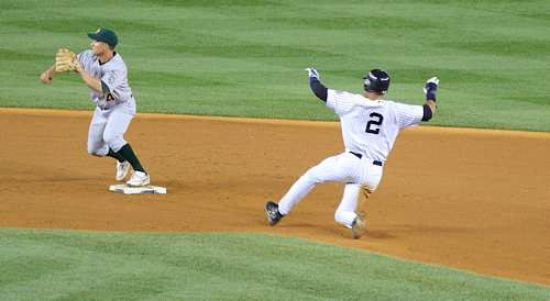 Derek Jeter sliding into 2nd base