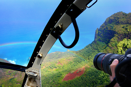 Photographing a Rainbow on the Na Pali Coast, Kauai, Hawaii