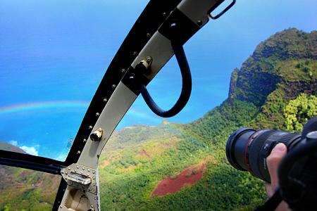Photographing a Rainbow on the Na Pali Coast, Kauai, Hawaii