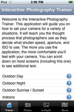 Photography Trainer iPhone app