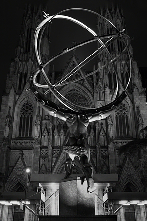 Statue of Atlas and St. Patrick's Cathedral