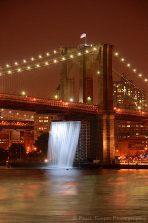 "Brooklyn Bridge, ""Waterfalls"" art installation"