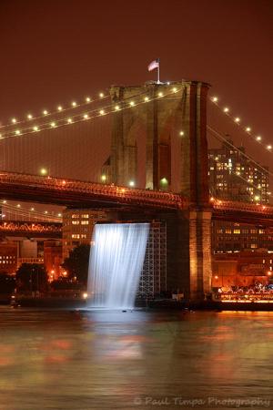 """Brooklyn Bridge, """"Waterfalls"""" art installation"""