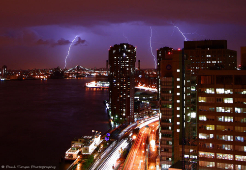 Lightning over East River, NYC