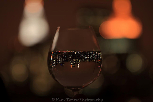 NYC Skyline in Wineglass