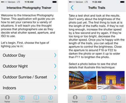Photography Trainer app